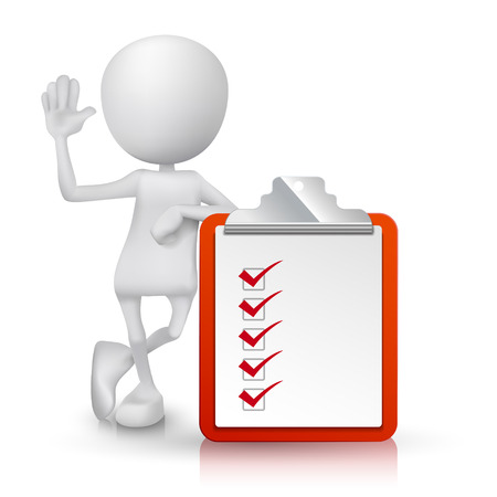 the list plan: 3d person with a clipping note pad and check list