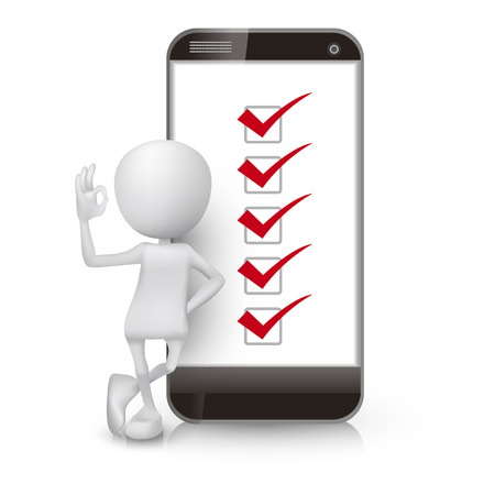 3d man showing okay hand sign with a mobile phone and check list Vector