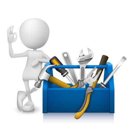 box cutter: Hombre 3d que muestra signo de la mano bien con una caja de herramientas con herramientas