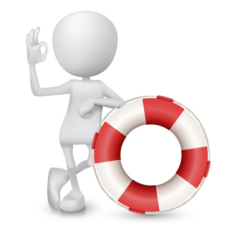 okay: 3d man showing okay hand sign with a buoy