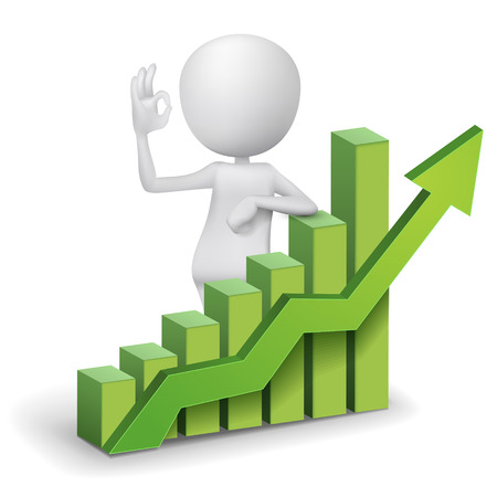 sales graph: 3d man showing okay hand sign with a bar chart graph