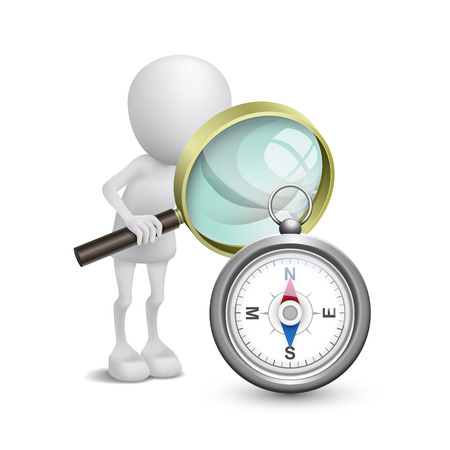 3d person watching a compass with a magnifying glass Vector
