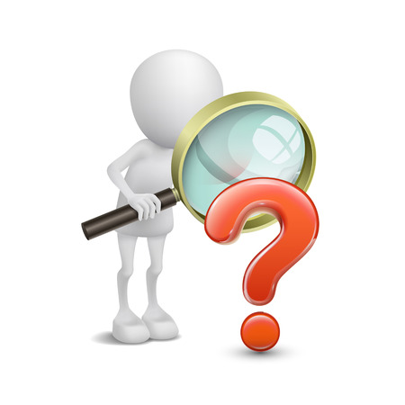solution icon: 3d person with magnifying glass question mark red search