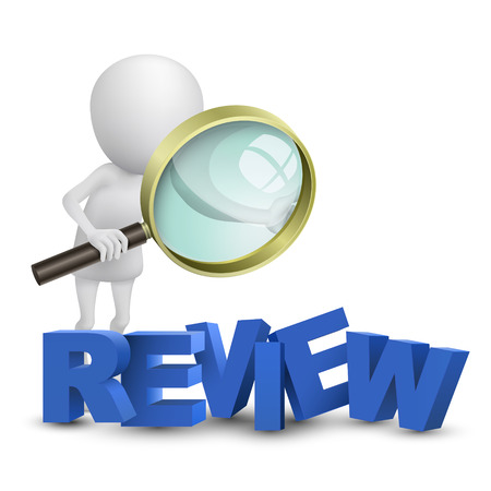 review: 3d person watching a word  review  with a magnifying glass Illustration