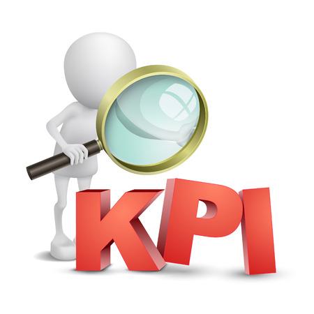 indicatore: 3d persona con una lente di ingrandimento e KPI
