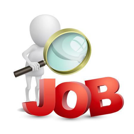 Personne 3d avec la loupe la recherche d'un emploi Banque d'images - 25024756
