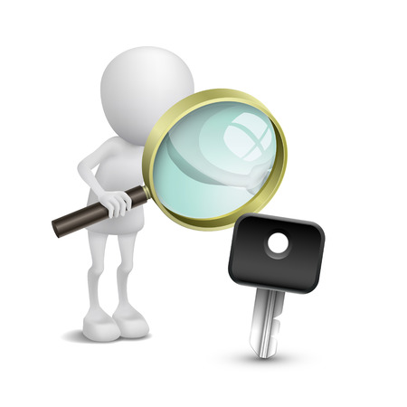 open car door: 3d person watching a car key with a magnifying glass Illustration
