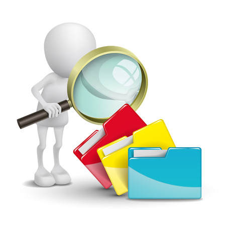 3d person with folders and a magnifying glass Stok Fotoğraf - 25024781