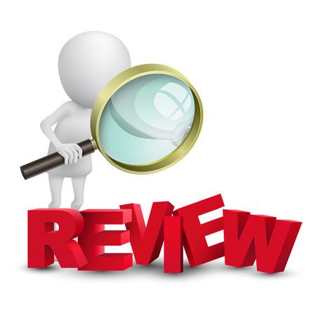 3d persoon kijken naar een woord review met een vergrootglas Stock Illustratie