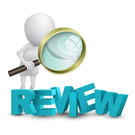evaluate: 3d person watching a word  review  with a magnifying glass Illustration