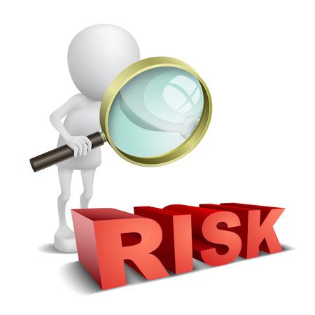 3d persoon kijken naar een woord Risk met een vergrootglas Stock Illustratie