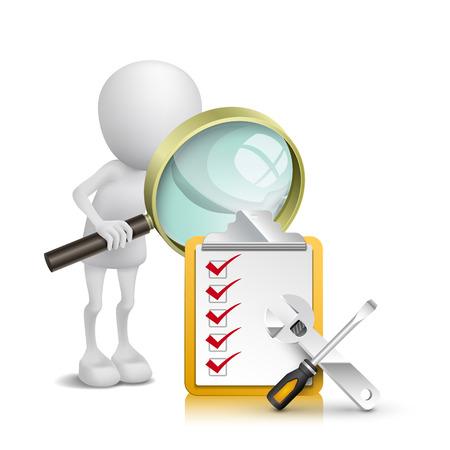 3d persoon kijken checklist en gereedschappen met een vergrootglas Stock Illustratie