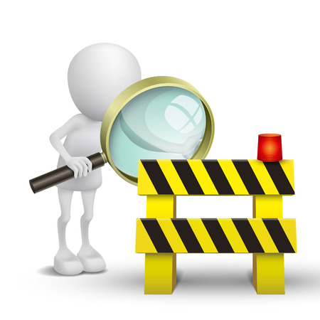3d person watching a roadblock with a magnifying glass Vector