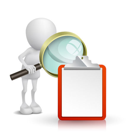 3d person watching the note with a magnifying glass Vector