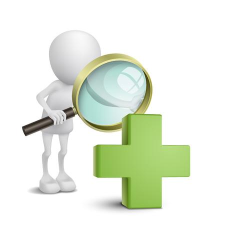 3d persoon kijken naar een groen kruis met een vergrootglas Stock Illustratie