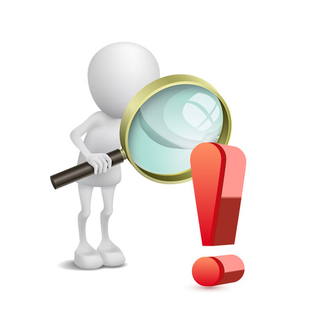 emphasis: 3d person watching an exclamation mark with a magnifying glass Illustration