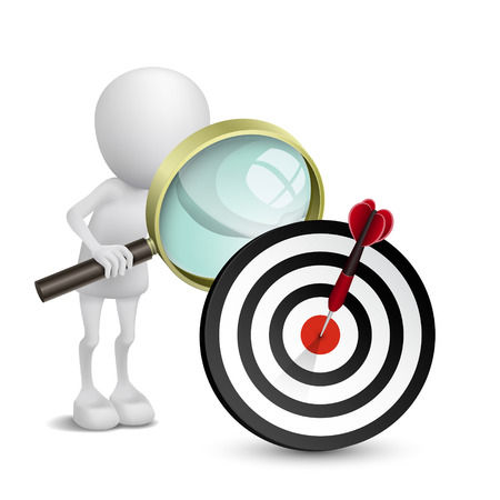 3d person watching dart hitting a target with a magnifying glass Vector