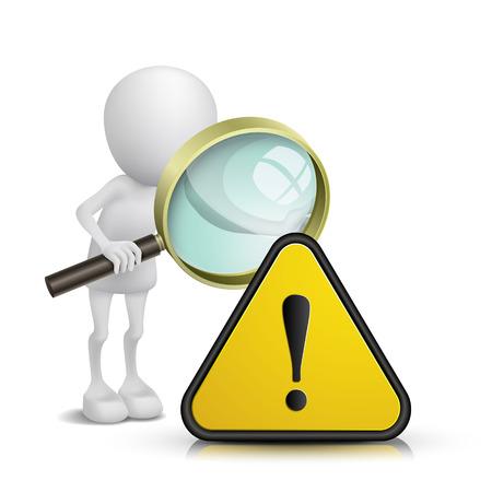 3d persoon kijken een waarschuwingsbord met een vergrootglas