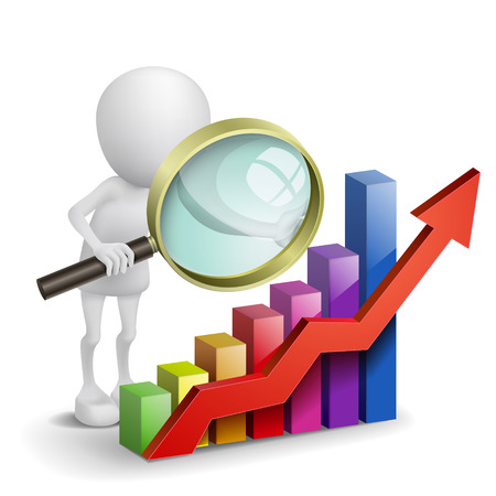 3d person with a graph financial and a magnifier Vector