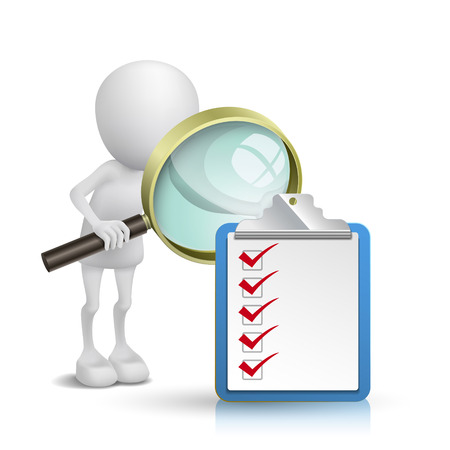 3d person watching a clipping note pad and check list with a magnifying glass Vector