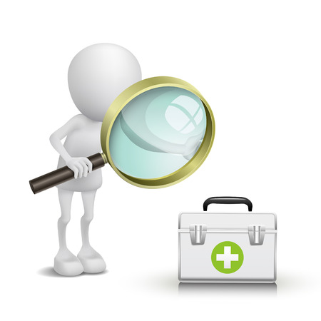 3d person watching a Medicine cabinet with a magnifying glass Vector