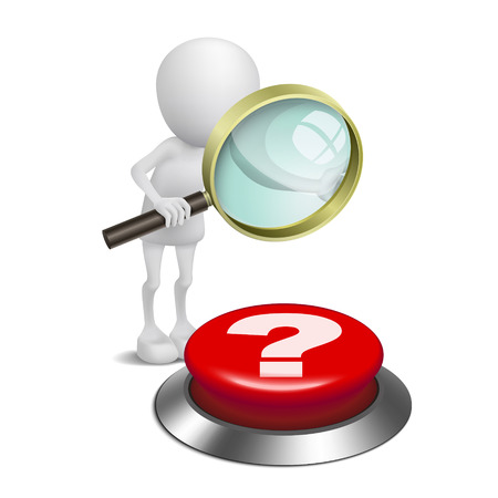 3d Person gerade die Fragezeichen-Schaltfläche mit der Lupe Standard-Bild - 25025782