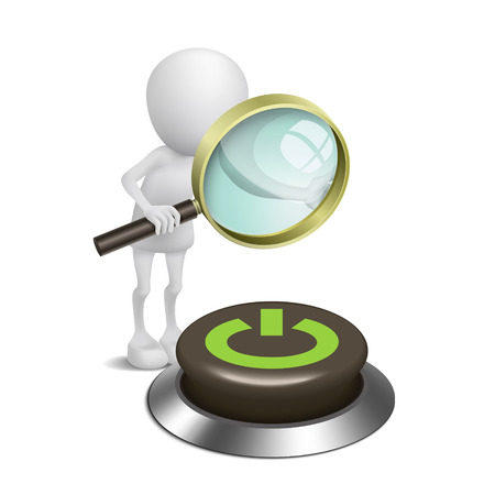 3d person watching a button with Power with a magnifying glass Vector