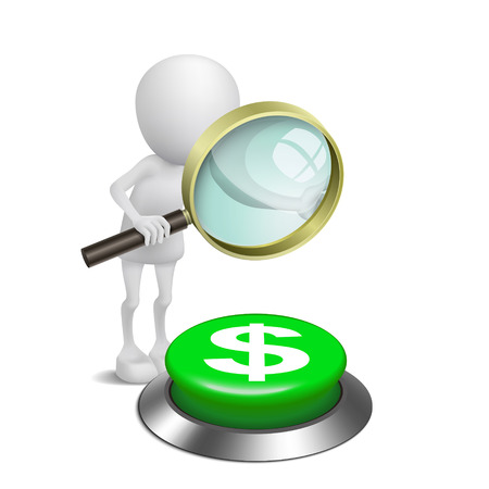3d person watching the dollars symbol button with a magnifying glass Vector