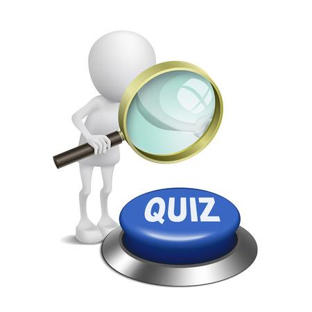 sayings: 3d persoon kijken naar de quiz knop met een vergrootglas Stock Illustratie