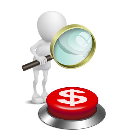 gold mining: 3d person watching the dollars symbol button with a magnifying glass Illustration
