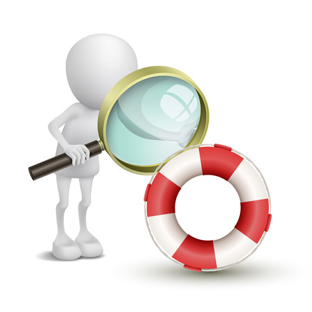 3d person watching a buoy with a magnifying glass Vector