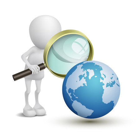 looking: 3d person with magnifying glass looking at Earth