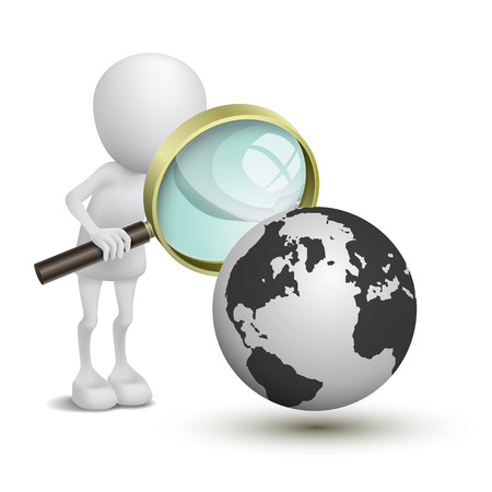 loupe: 3d person with magnifying glass looking at Earth
