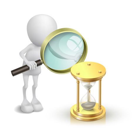 3d person watching a hourglass with a magnifying glass Vector