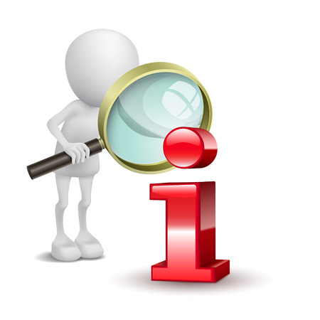 3d dimensional: 3d man with magnifying glass and red information icon