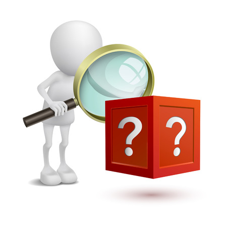 3d person watching the question box with a magnifying glass Vector