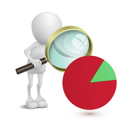 3d man with financial pie chart and magnifying glass Vector