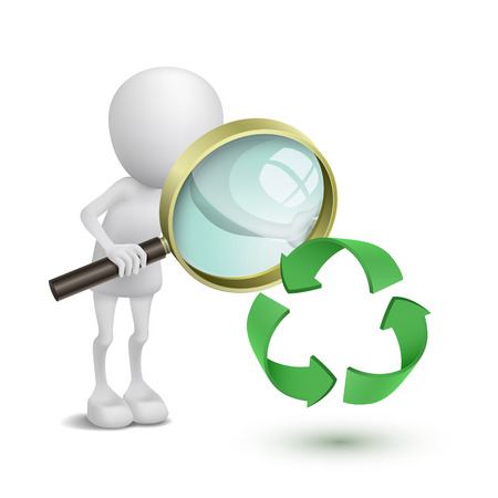 loupe: 3d person watching the recycling symbol with a magnifying glass Illustration