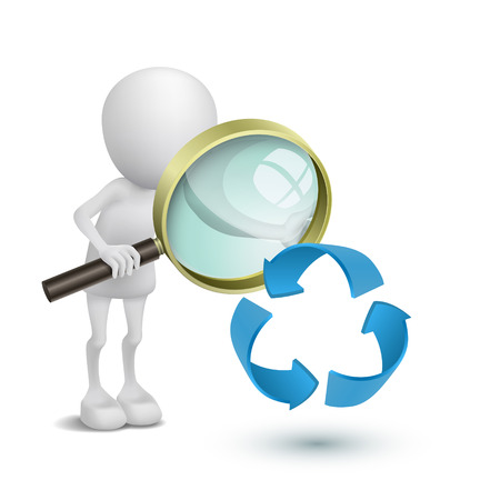 3d person watching the recycling symbol with a magnifying glass Vector