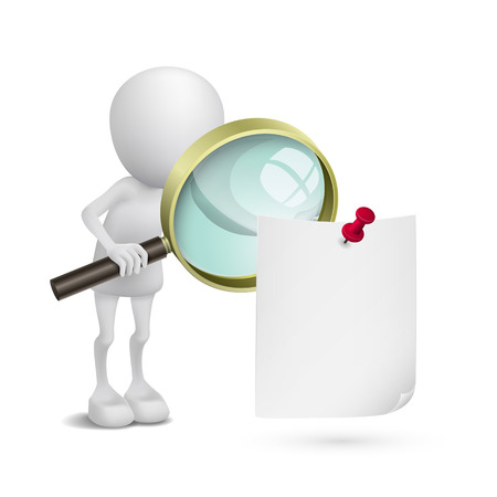 3d person watching the paper with a magnifying glass Vector