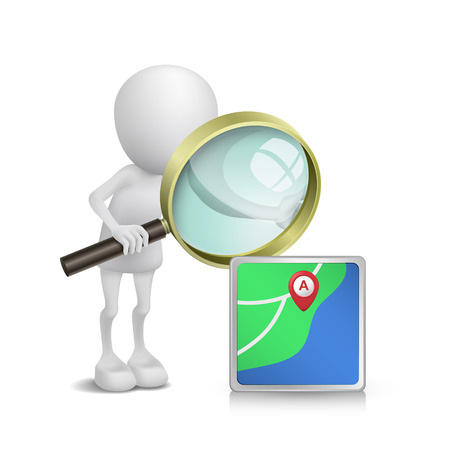 3d person watching a navigator with a magnifying glass Vector
