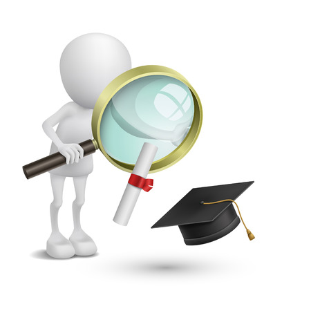 3d person watching the graduation cap and diploma with a magnifying glass Vector