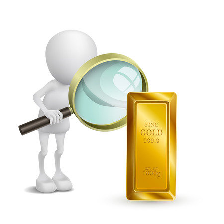 3d person is watching the gold with a magnifying glass Vector