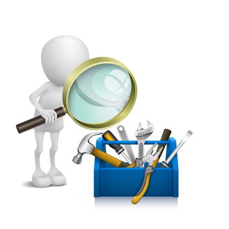 Homem 3d que presta atenção às ferramentas na caixa de ferramentas com uma lupa Foto de archivo - 25025868