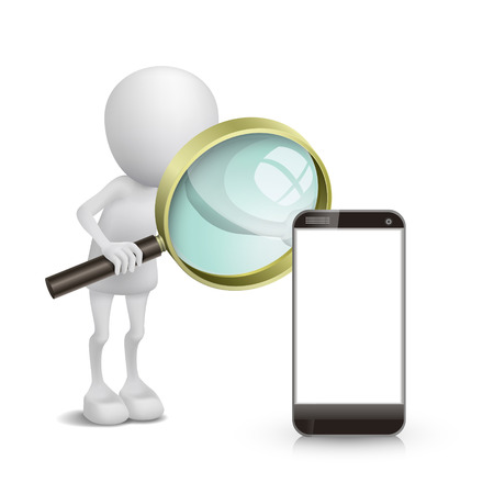 3d person watching a mobile phone with a magnifying glass Vector