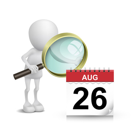 3d man watching a calendar with a magnifying glass Vector