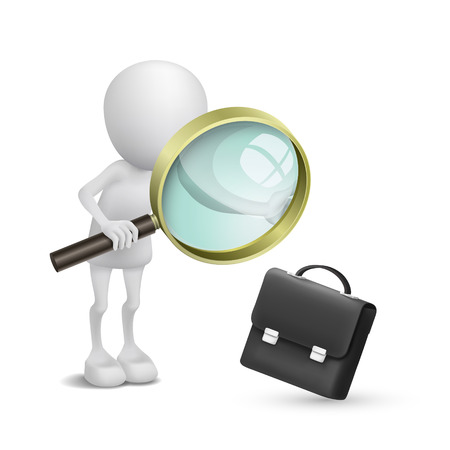 3d person watching a briefcase with a magnifying glass Vector