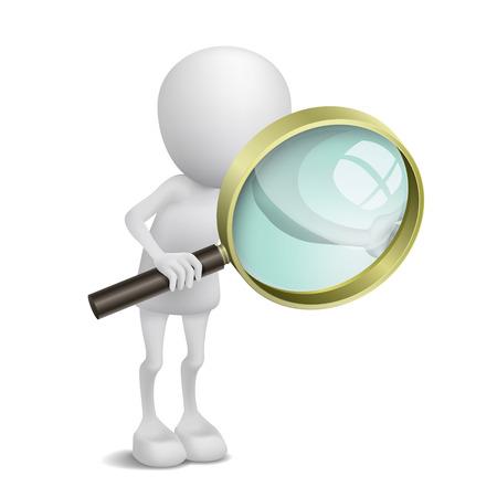 3d personne utilise la loupe Banque d'images - 25026103