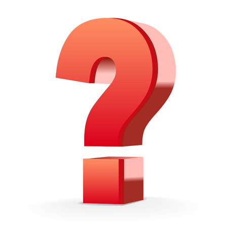 big: red question mark isolated white background