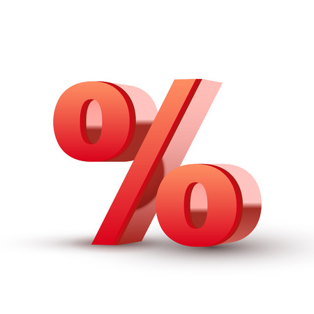 percentage sign: red percent symbol isolated white background